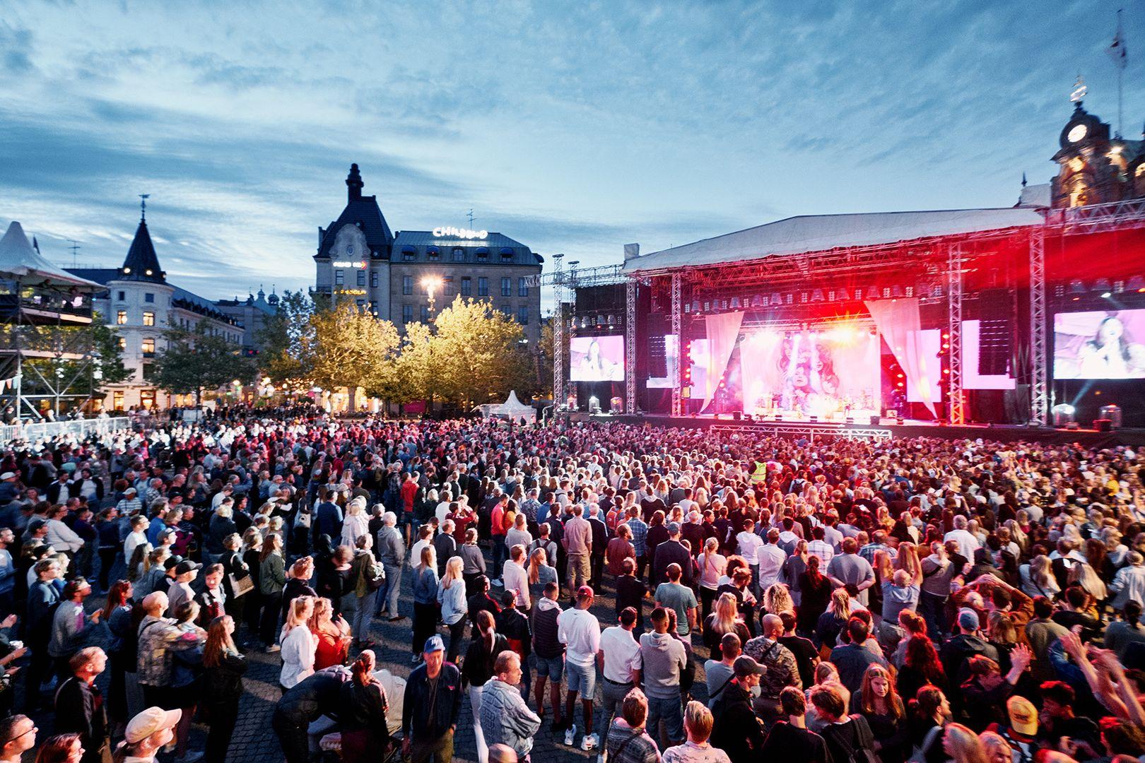 Stortorget och Stora Scenen under Malmöfestivalen 2019.